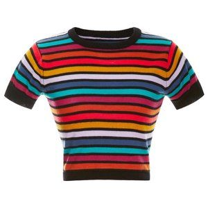 Cynthia Rowley Multi Stripe Short Sleeve Sweater